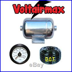 1/2 Gallon Stainless Steel Polish AirTank 2 Ports Air Ride 150-gauge Voltairmax
