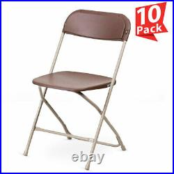 10 Brown Plastic Folding Chair Outdoor Party 300 lb Capacity 18 Gauge Steel Tube