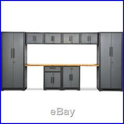 10 Piece Garage Storage Cabinet Set 24 Gauge with Bamboo Worktop lockers & Shelves