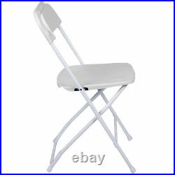 10 White Plastic Folding Chair Outdoor Party 300 lb Capacity 18 Gauge Steel Tube