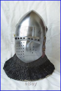 14 gauge Armor Knight Klappvisior European Bascinet Medieval