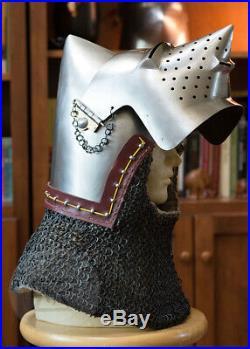 14GA Medieval Bascinet Hounskull Pig Face Helmet Klappvisor Battle Helmet KV17
