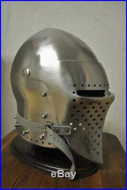 14GA Medieval Bascinet Hounskull Pig Face Helmet Klappvisor Battle Helmet KV61