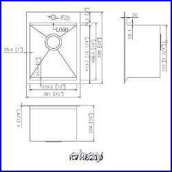 15 x 20 inch Workstation Drop-in Topmount Bar Prep RV Sink 16 Gauge