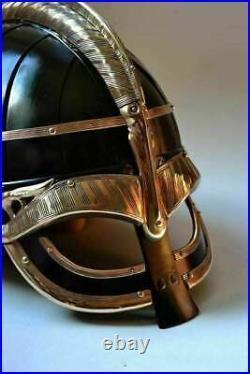 16 Gage Steel & Brass Medieval Vendel Viking Helmet Knight Museum Armor Helmet