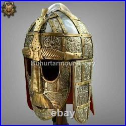 16 Gauge Brass Medieval Knight Satton Hoo Helmet With Avaintail