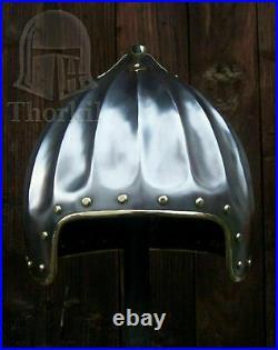 16 gauge Steel & Brass Medieval Bascinet Helmet of Sir John d'Abernon