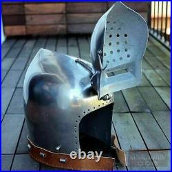 16gauge Hardened Tempered Steel Medieval BASINET Helmet WITH KLAPPVISIER