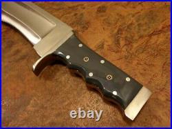 17 Custom Handmade D2 Steel Bowie Hunting Knife High Polish Zero Gauge, Sheath