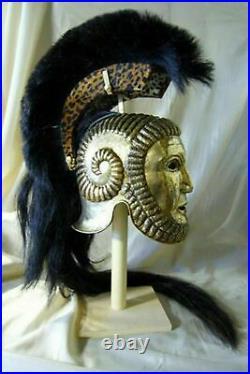 18 Gauge Brass Medieval Reenactment Roman Helmet Greek FaceMask Helmet w Plume