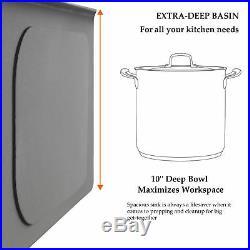18 Gauge Kitchen Sink Stainless Steel Deep Undermount Single Bowl 28 x 18 x 9