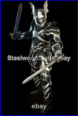 18 Gauge Steel Medieval Gothic Knight Full Body Suit Of Armor Larp Costume Black