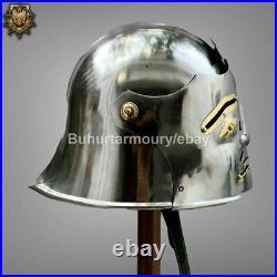 18 Gauge Steel Medieval Knight Sallet Helmet With Face Plate