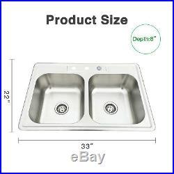 18 Gauge Topmount Undermount Stainless Steel Single Double Bowl Kitchen Bar Sink