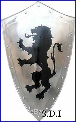 18 gauge Medieval Heater Roman Knight Templar Crusader Latin Warrior Lion Shield