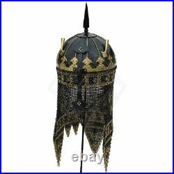 18 gauge Steel & Brass Medieval Knight Persian Helmet Kulah Khud, 18 cent