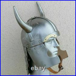 18 gauge Steel Medieval Knight Fantasy Viking helmet with brass Shield & Horn