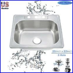 18Gauge Stainless Steel Single Bowl Topmount Drop In Kitchen Sink 3Hole 25 x 22