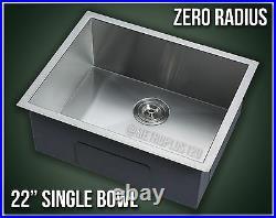 22 Single Bowl Undermount 16 Gauge 304 Stainless Steel Kitchen Sink Zero Radius