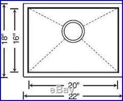 22 x 18in. Stainless Steel Kitchen Sink Zero Radius 16 Gauge 10 depth