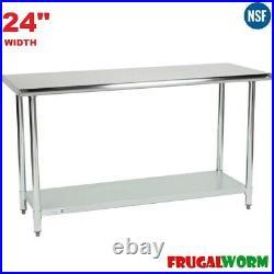 24 Steelton 18 Gauge Stainless Steel Commercial Kitchen Work Prep Table Shelf