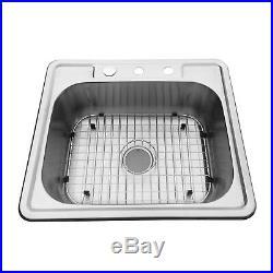 25''x 22'' Single Bowl Stainless Steel Kitchen Sink 16 Gauge Drop Undermount