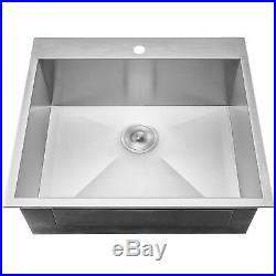 25 x 22 x 9 18 Gauge Stainless Steel Top Mount Sink Dish Grid with Drain Kit