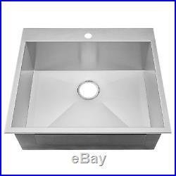 25 x 22 x 9 TopMount Single Basin 18 Gauge Stainless Steel Drain Kitchen Sink