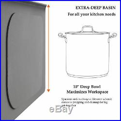 28 x 18 x 9Deep Stainless Steel Single Bowl 18 Gauge Undermount Kitchen Sink