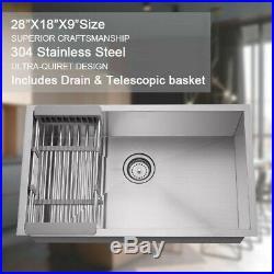 28x18x9Kitchen Sink 18Gauge Stainless Steel Deep Undermount Single Bowl Rack