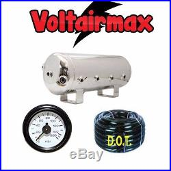 3 Gallon Stainless Steel Polish Air Tank 8 Port Air Ride 150-gauge Voltairmax