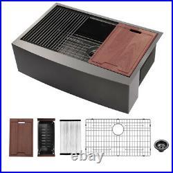 30 Farmhouse Kitchen Sink Single Bowl Gunmetal Black 16 Gauge Stainless Steel