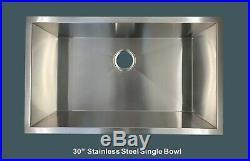 30 Stainless Steel Single Bowl 16 Gauge Under mount Kitchen sink