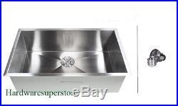 30 Stainless Steel Single Bowl Zero Radius 16 Gauge Undermount Kitchen sink