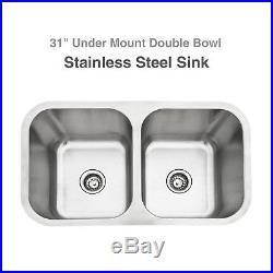 31x18'' Double Bowl 16 Gauge Stainless Steel 9'' Deep Kitchen Sink Undermount