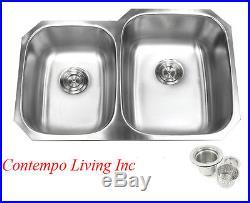 32 Stainless Steel Double 40/60 Bowl 18 Gauge Undermount Kitchen Sink Strainer