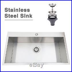 32 Stainless Steel Single Bowl Top Mount Drop in 18-Gauge Kitchen Sink