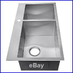 32 x 18 x 9 Handmade Top Mount Dual Bowl Basin 18 Gauge Stainless Steel Sink