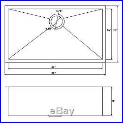 32 x 18 x 9 Single Basin Undermount Stainless Steel Kitchen Sink 18 Gauge