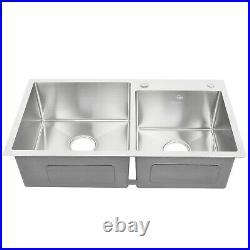 32 x 18 x 9 Stainless Steel Double Bowl 16 Gauge Kitchen Sink Topmount New