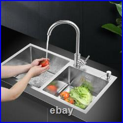 32x 17.7 x 8.7 Stainless Steel Double Bowl Gauge Kitchen Sink Topmount New