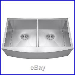33 x 20 x 9 Apron Undermount Dual Bowl 18 Gauge Stainless Steel Kitchen Sink