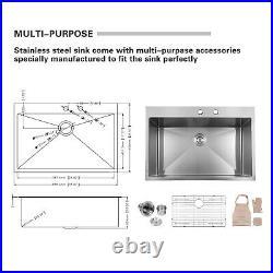 33 x 22 inch Drop-in Topmount 16 Gauge Stainless Steel Single Bowl Kitchen Sink