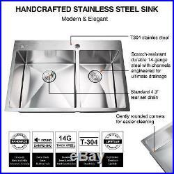 33 x 22 x 9 Dual Basin Stainless Steel Kitchen Sink Top Mount 14 Gauges