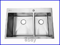 33 x 22 x 9 New 16 Gauge Stainless Steel Double Bowl Kitchen Deep Sink Silver