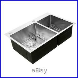 33 x 22 x 9 Stainless Steel Double Bowl 16 Gauge Kitchen Sink with Bottom Grid