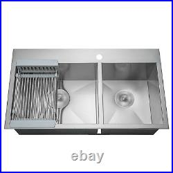 33 x 22 x 9 Stainless Steel Kitchen Sink Top Mount Double 60/40 Tray Strainer
