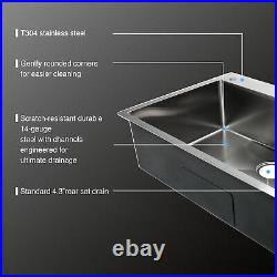 33 x 22 x 9 Stainless Steel Top Mount Kitchen Sink Single Basin with Strainer