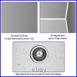 332110Kitchen Farmhouse Sink Apron Front Stainless Steel 18 Gauge Single Bowl