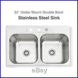 33228'' Double Bowl 16 Gauge Stainless Steel Sink Undermount Drop Kitchen